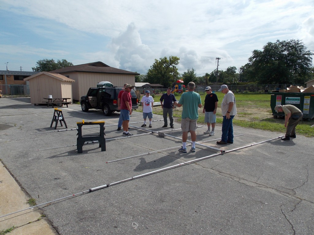 OPARC & CARES Members prep antennas for Field Day